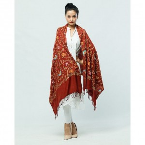 brown Acrowool Kashmiri / Water Pashmina Embroidered Aari Shawl SHL-135