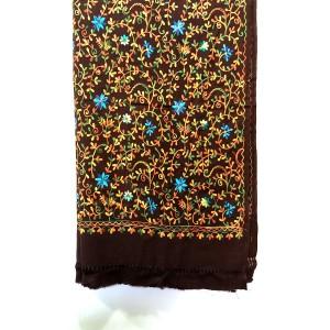 Brown Acrowool Kashmiri / Water Pashmina Embriored Aari Shawl SHL-134