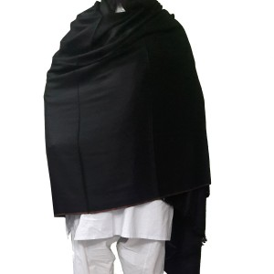 Woolen Semi Pashmina Black Color Kashmiri Shawl SHL-074-2