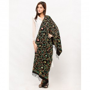 Black Acrowool Kashmiri / Water Pashmina Embroidered Aari Shawl SHL-139