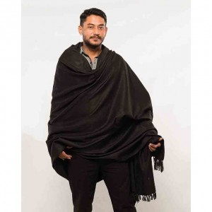 Acro Woolen Black  Solid Color Kashmiri Lohi Shawl SHL-140