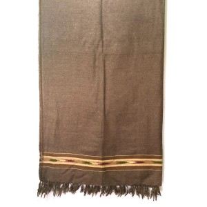 Pure Woolen Dark Brown Color Sawati Pattu / Dhussa Shawl For Men / Women SHL-115-2