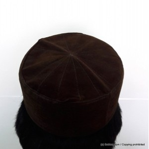 Brown Velvet AKA Junaid Jamshed [Cloth Contrasting] Prayer Cap / Kufi CHM-65