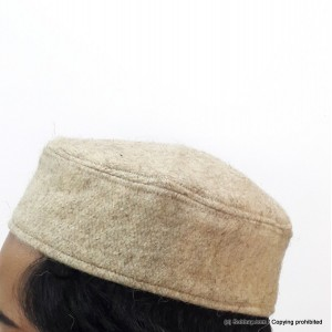 Beige Woolen AKA Pattu Fabric Tablighi Cap [Cloth Contrasting] Prayer Cap / Kufi CHM-71