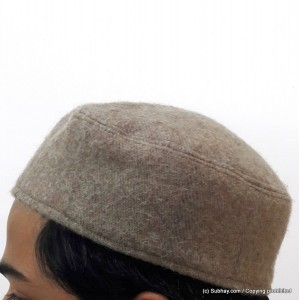 Grey Woolen AKA Pattu Fabric Tablighi Cap [Cloth Contrasting] Prayer Cap / Kufi CHM-70