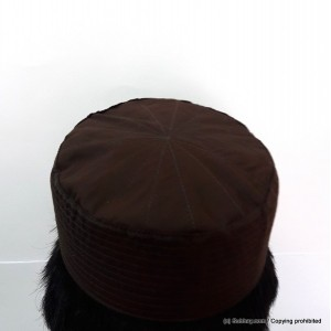 Brown Cotton Woven AKA Junaid Jamshed [Cloth Contrasting] Prayer Cap / Kufi CHM-63