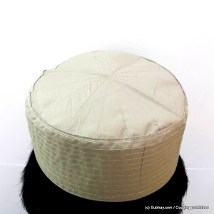 Beige Cotton Woven AKA Junaid Jamshed [Cloth Contrasting] Prayer Cap / Kufi CHM-67