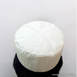 Off White Cotton Woven AKA Junaid Jamshed [Cloth Contrasting] Prayer Cap / Kufi CHM-61