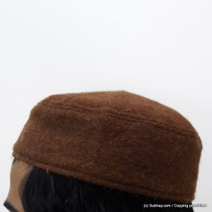 Brown Woolen AKA Pattu Fabric Tablighi Cap [Cloth Contrasting] Prayer Cap / Kufi CHM-72