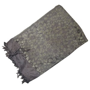Gray Self Embroidered Velvet Shawl SHL-108-4