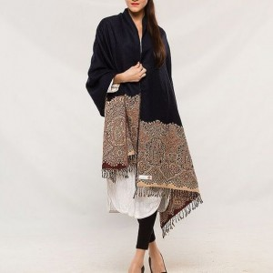 Black Color Indian Self Embroidered Kashmiri Shawl SHL-104
