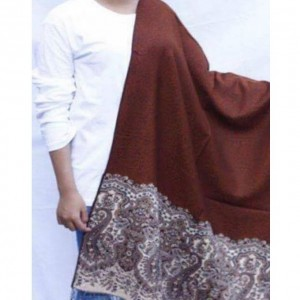 Brown Color Indian Self Embroidered Kashmiri Shawl SHL-105