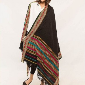 Black Color Sindhi Tharri / Embroidered Shawl SHL-100