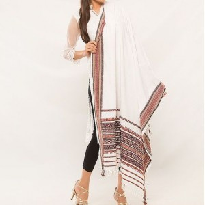 White Color Sindhi Tharri / Embroidered Shawl SHL-102