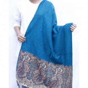Blue Color Indian Self Embroidered Kashmiri Shawl SHL-107