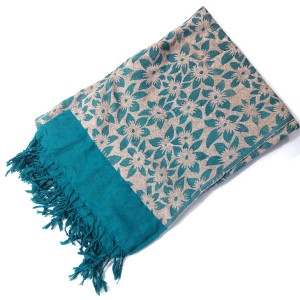 Firozi & Skin Self Embroidered Velvet Shawl SHL-108-7