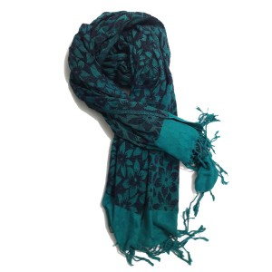 Sea Green Self Embroidered Velvet Shawl SHL-108