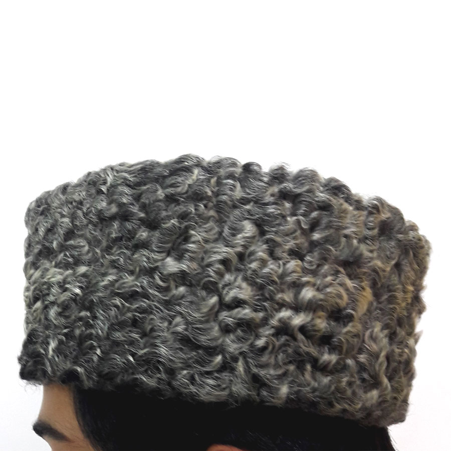 Buy Dark Gray Persian Lamb Karakul Camel Skin Jinnah