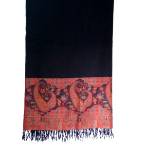 Black Kashmiri / Water Pashmina Self Embroidered Shawl SHL-109