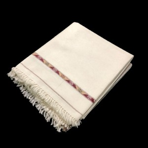 Off White Pure Woolen Handmade Peshawari & Kashmiri Fusion Dhussa Shawl SHL-119
