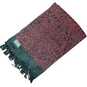 Black & Red Self Embroidered Velvet Shawl SHL-108-5