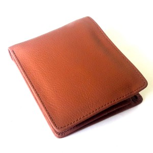 15 Pocket Bi-Fold Genuine Cow Leather Wallet For Him CLW-39 - Red Tanned