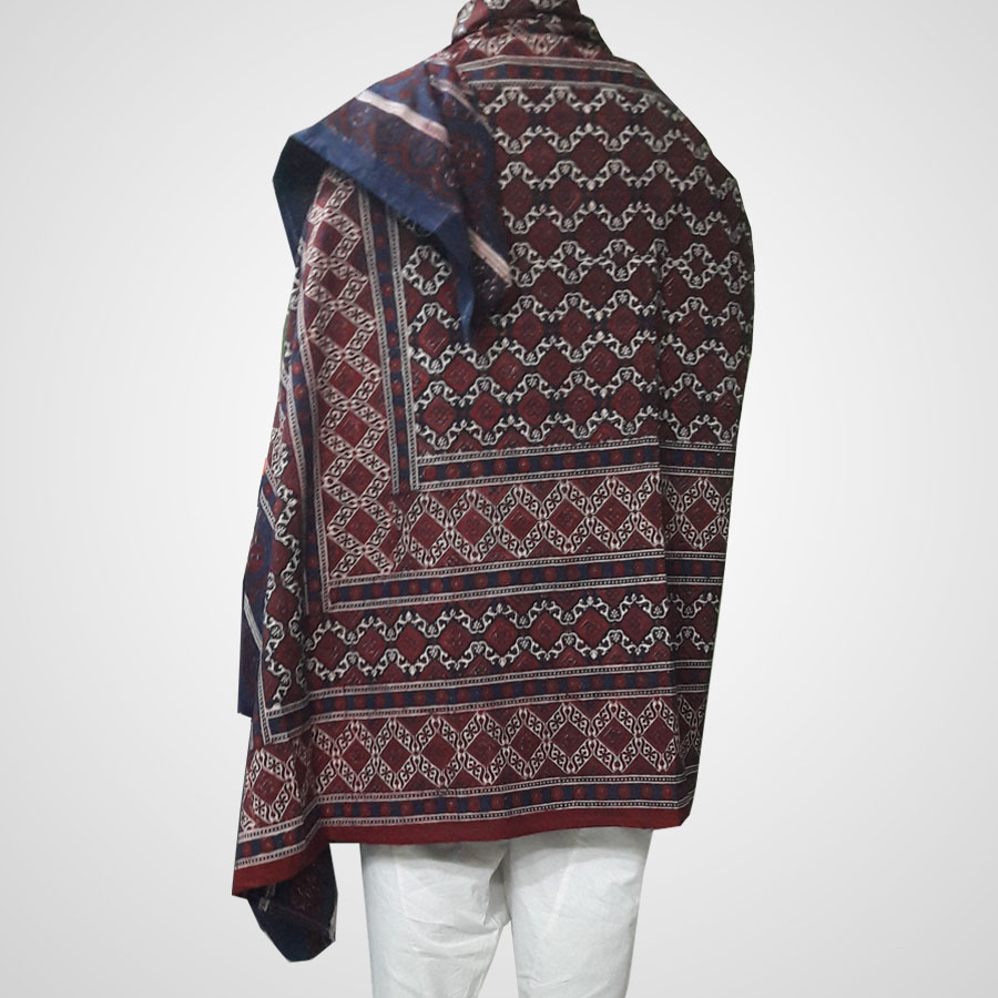 Pure Cotton Herbal Dyed Block Printed Sindhi Ajrak (Original) SA-28-8