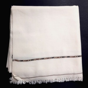 Off White Pure Woolen Handmade Kashmiri Dhussa Shawl SHL-130
