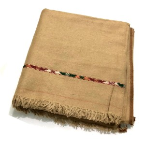 Light Brown Pure Woolen Handmade Peshawari & Kashmiri Fusion Dhussa Shawl SHL-122