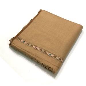 Yellowish Brown Pure Woolen Handmade Peshawari & Kashmiri Fusion Dhussa Shawl SHL-121