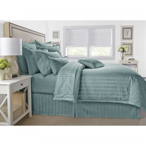 Pure Cotton Sateen Stripe Hotel Aqua Solid Color BedSets [All Sizes] CSB-117