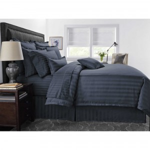 Pure Cotton Sateen Stripe Hotel Denim Blue Solid Color BedSets [All Sizes] CSB-119