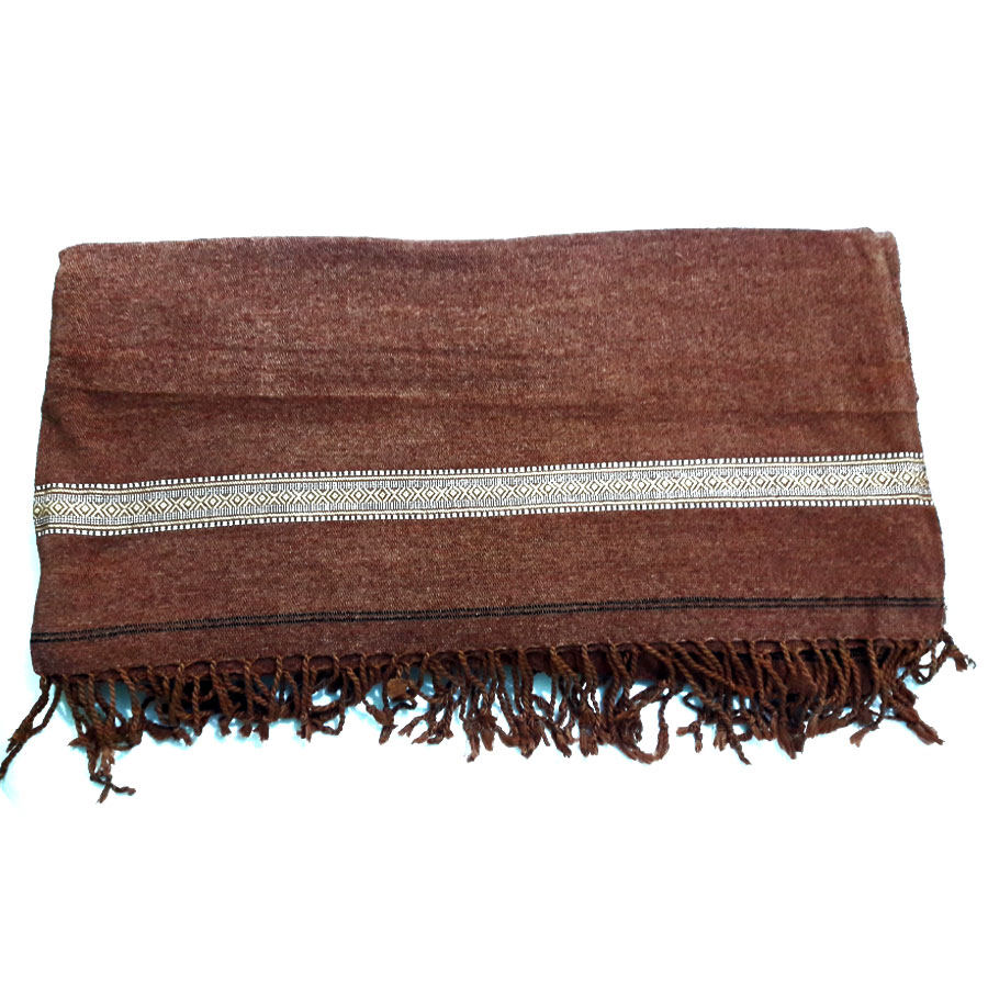 Badami Brown Velvet Pure Dussa / Khamdar Shawl SHL-061 By Khan Culture