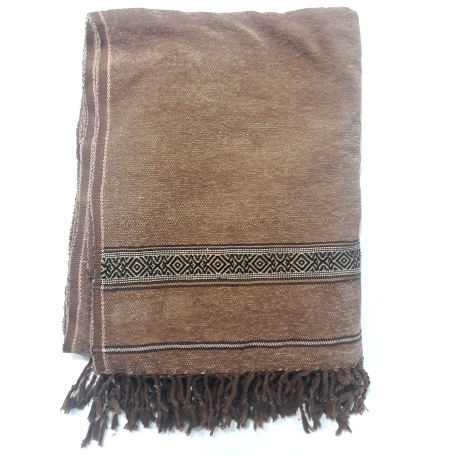 Pure Handmade Coffee Velvet Pure Dussa / Khamdar Shawl SHL-064-4 By Khan Culture