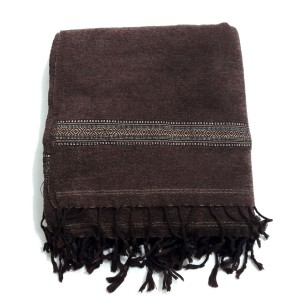 Dark Brown Velvet Pure Dussa / Khamdar Shawl SHL-049 By Khan Culture