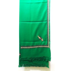 Green Aari Work Pure Acrowoolen Shawl / Dastaar For Men & Women SHL-059-4