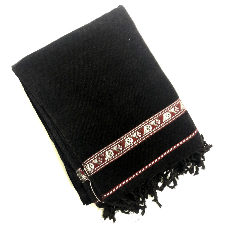 Pure Handmade Black Velvet Pure Dussa / Khamdar Shawl SHL-064-2 By Khan Culture