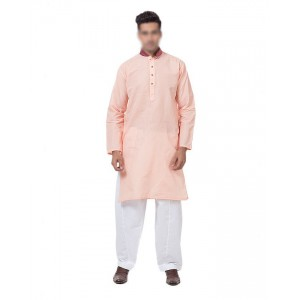 Khushal Khan Tea Pink Mix Cotton Kurta For Men KK-04