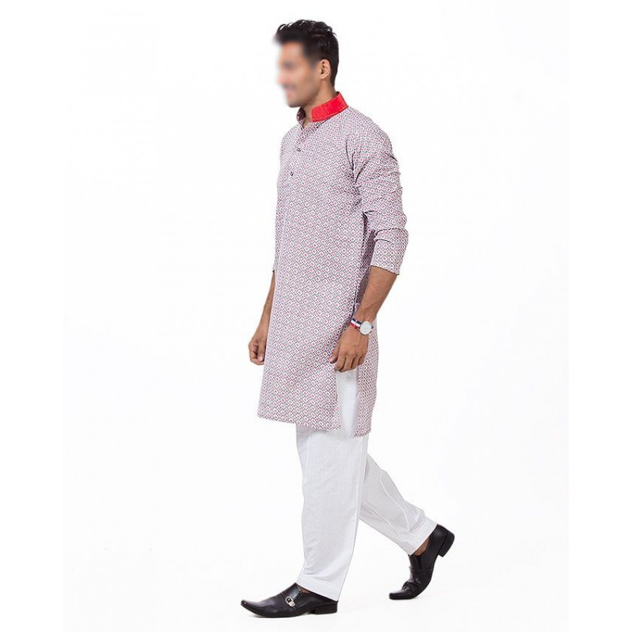 Khushal Khan Red Dotted Mix Cotton Kurta For Men KK-09