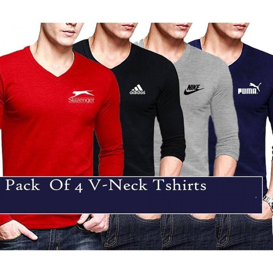 Buy pack of 4 v neck branded t shirts mrk 108 online in for Buy branded shirts online