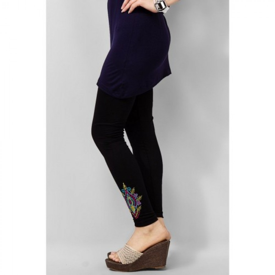 Women's Black Viscose Embroidered Tights. MVC-15