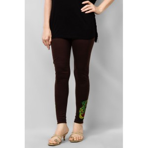 Women's Brown Viscose Embroidered Tights. MVC-16