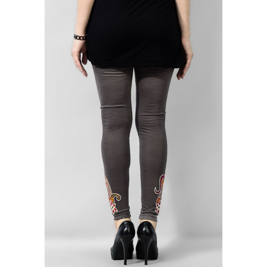 Women's Grey Viscose Embroidered Tights. MVC-17