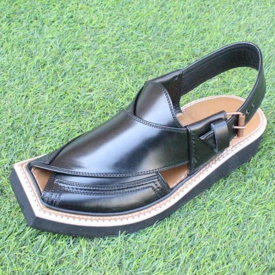 Black High-Chrome Leather Pure Handmade Peshawari Imran Khan / Kaptaan Chappal DKC-24