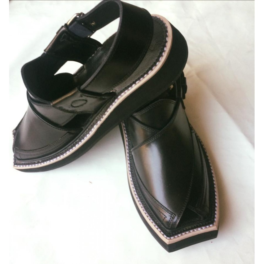 Black High-Chrome Leather Pure Handmade Peshawari Imran Khan / Kaptaan Chappal KC-17