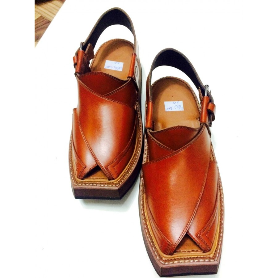 Light Brown High-Chrome Leather Pure Handmade Peshawari Imran Khan / Kaptaan Chappal KC-19