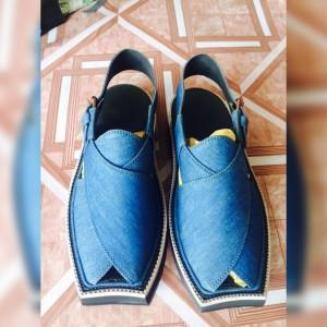 Blue Denim Pure Handmade Peshawari Imran Khan / Kaptaan Chappal KC-23
