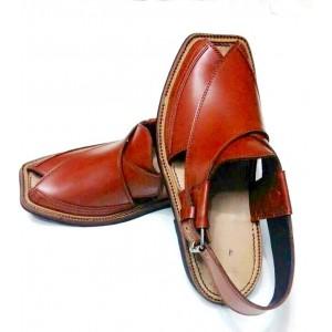 Orange Brown High-Chrome Leather Pure Handmade Peshawari Chappal Chappal KC-24