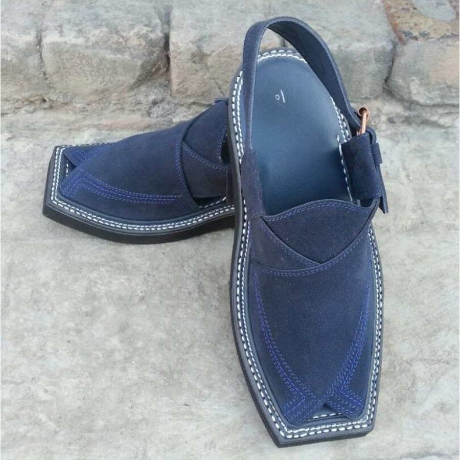 Blue High-Chrome Leather Pure Handmade Kaptaan Style Peshawari Chappal PC-90