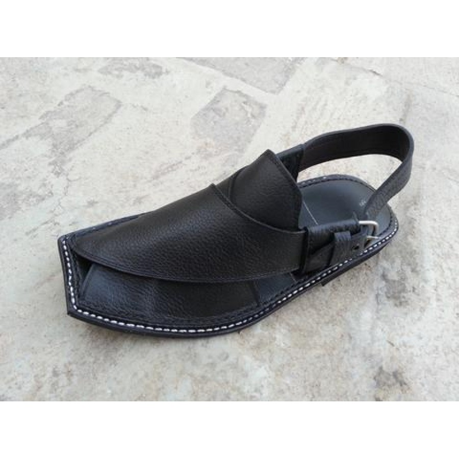 Black Leather Pure Handmade Kohat Chappal KC-34